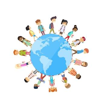 Children group standing around globe world unity Premium Vector
