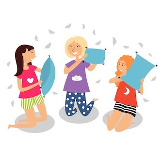 Children had pillow fight