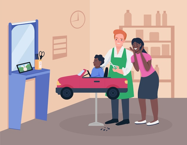 子供の美容師のフラット カラー。グルーミング サロンで幼児を持つ母親。お子様に優しいサービス。スタジオ インテリアの幼稚園 2d 漫画のキャラクター