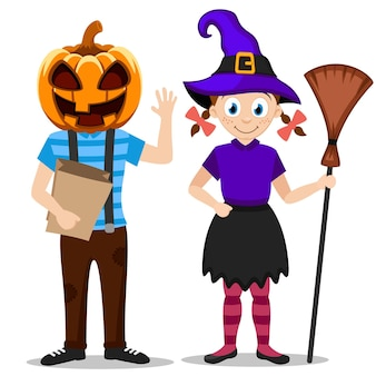 Children in halloween costumes pumpkin and witch on white background
