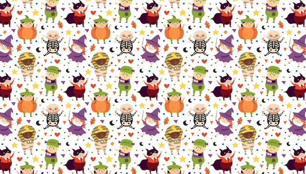 Children in halloween costumes of spooky creatures day of dead holiday pattern banner background