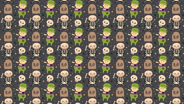 Children in halloween costumes of spooky creatures day of dead holiday pattern poster background