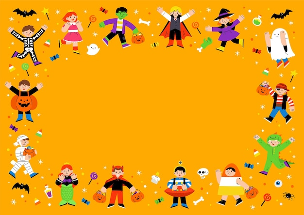 Children in halloween fancy dress for trick or treating. template for advertising brochure. happy halloween concept.