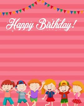 Children on happy birthday card background