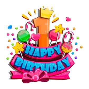 Children happy birthday greeting card. vector set of colorful letters