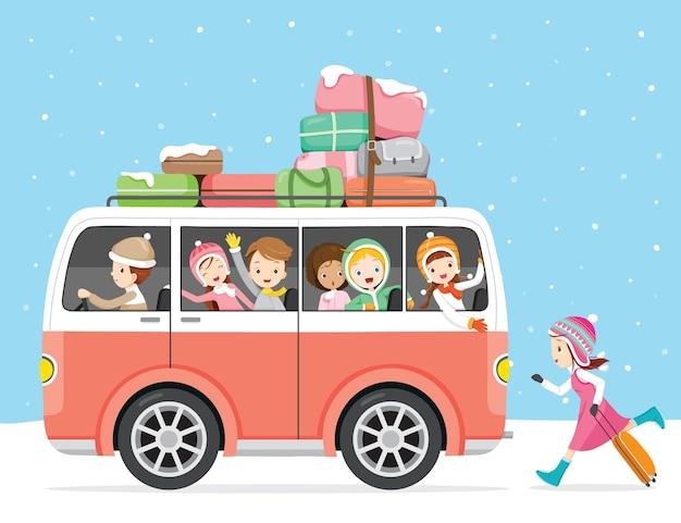 버스로 여행하는 아이들, 눈 내리는 것, 겨울철