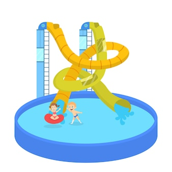 Children have fun in the water park. summer vacation and entertainment on waterslide. extreme leisure.   illustration in cartoon style