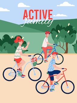 Children having fun riding bikes in park flat cartoon vector illustration