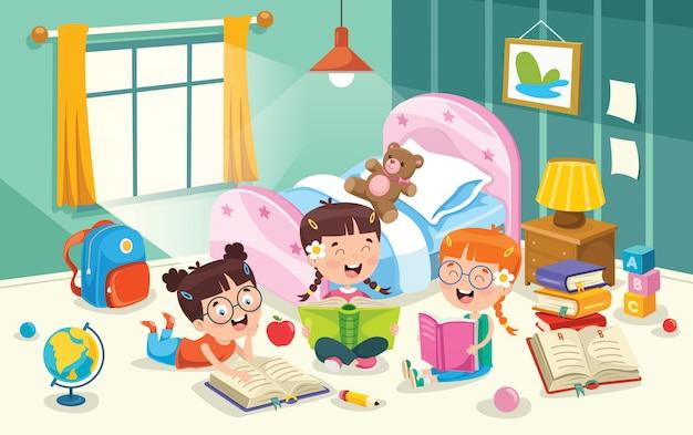 Children having fun in a room