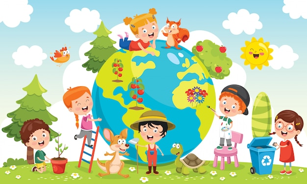 Children having fun with earth