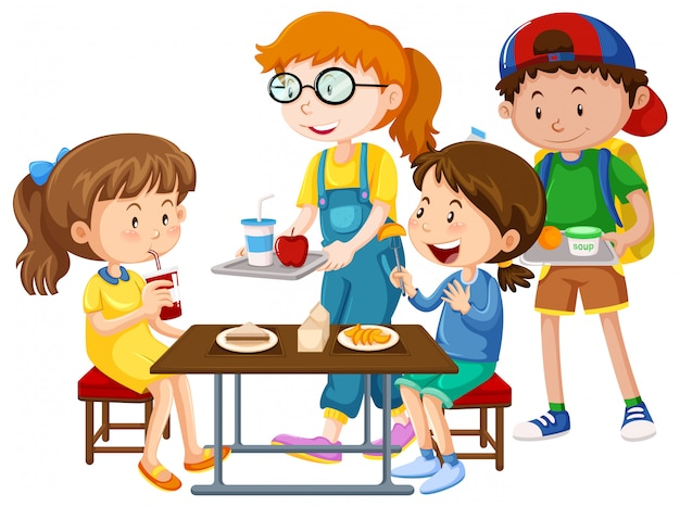 Children having meal at table