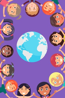 Children heads and raised hands around earth planet. happy international children day.