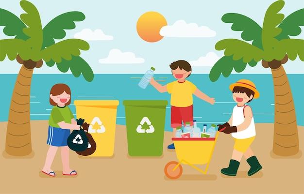 아이들은 만화 캐릭터로 행복한 지구의 날을 위해 해변의 재활용 쓰레기통에 플라스틱 병을 수집하는 것을 돕습니다.