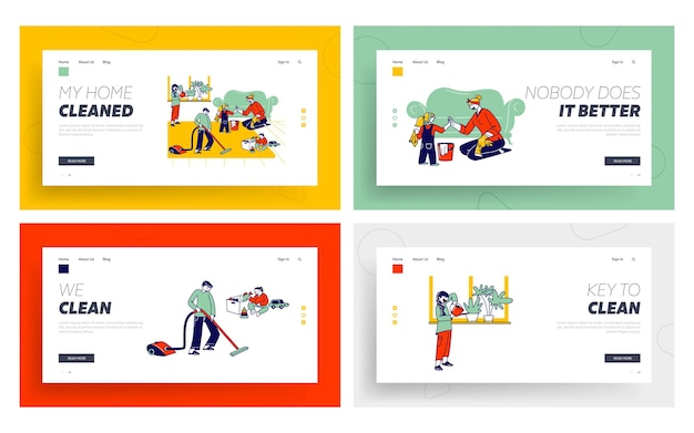 Children help mother to clean home landing page template set.