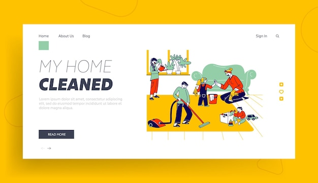 Children help mother to clean home landing page template.