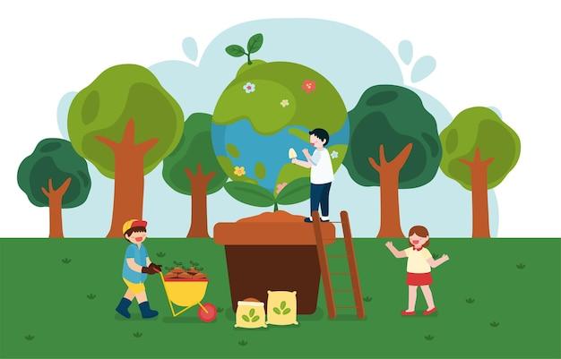 아이들은 만화 캐릭터로 행복한 지구의 날에 나무를 심는 것을 돕습니다.