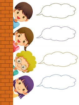 Children hiding the wall with speech bubble