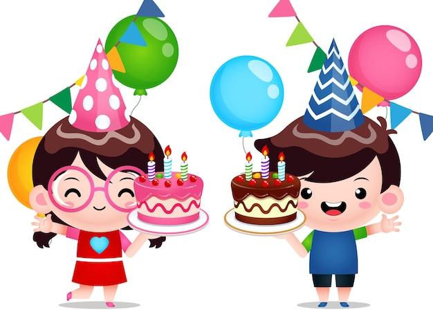 Дети держат торт ко дню рождения