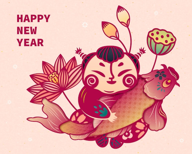 中国の紙アートスタイルで蓮と鯉を保持している子供たち
