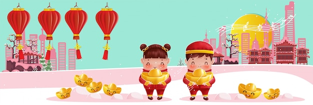 Children holding gold lamp building wishing to be rich and lucky banner background
