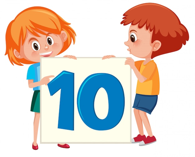 Children holding the number ten