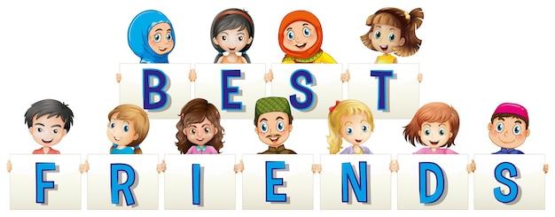 Bambini che tengono il cartello per i migliori amici
