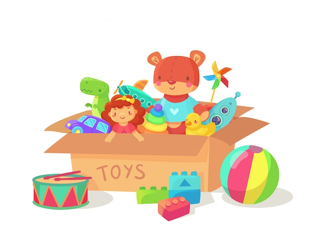 Children holiday gift boxes with child playthings.