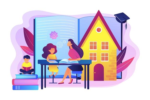 Bambini a casa con un tutor o un genitore che riceve un'istruzione, gente minuscola. istruzione domiciliare, piano di istruzione domestica, concetto di tutor online homeschooling.