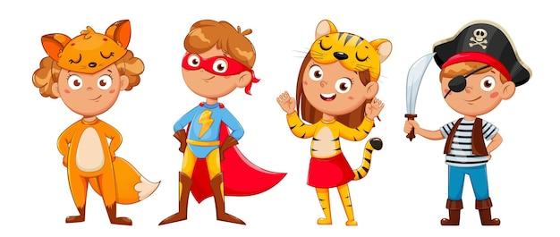 Дети в карнавальных костюмах на рождество и другие праздники. симпатичные детские герои мультфильмов. девушка фокси, мальчик-супергерой, девочка-тигр, мальчик-пират. фондовый вектор иллюстрация