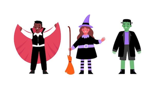 할로윈을위한 귀여운 의상을 입은 아이들. 마녀, 뱀파이어, 드라큘라, 프랑켄슈타인의 괴물, 좀비.
