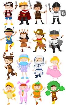 異なる衣装の子供たち