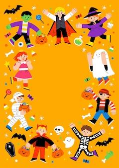 Дети в маскарадном костюме хэллоуина для уловки или угощения. шаблон для рекламной брошюры. счастливый хэллоуин концепции.