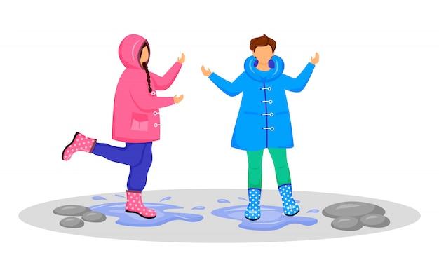 レインコートを着た子供たちが顔のないキャラクターを彩ります。水たまりで遊ぶ白人の子供たち。雨天。雨の日。女の子と男の子のゴム長靴漫画イラスト白い背景の上