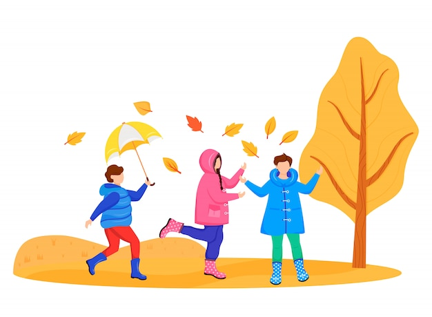 レインコートを着た子供たちは顔のないキャラクターを色づけます。白人の子供たちと遊ぶ。秋の自然。雨天。雨の日。ゴム長靴の小さな友達漫画白い背景のイラスト