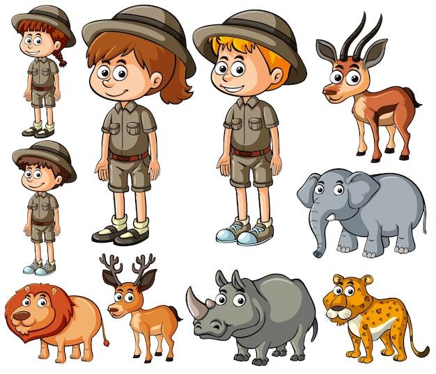 Дети в сафари и многие дикие животные