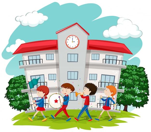 학교에서 학교 밴드의 아이들