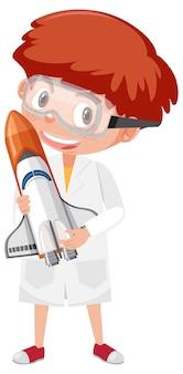 科学者の衣装の漫画のキャラクターの子供たち