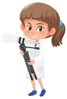 과학자 의상 만화 캐릭터 어린이 프리미엄 벡터