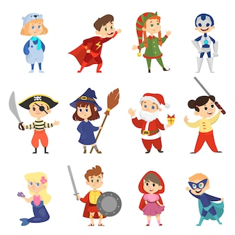 할로윈 카니발 의상 세트 어린이. 소년과 소녀 파티 복장의 컬렉션입니다. 슈퍼 히어로와 인어. 만화 스타일의 일러스트