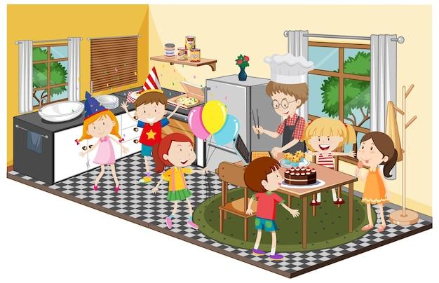 파티 테마로 부엌에있는 아이들