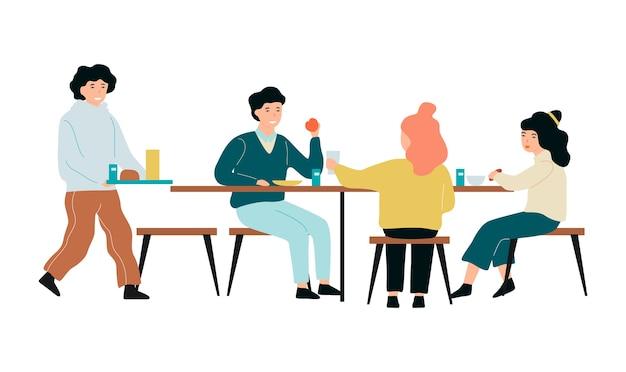 Дети в школьной столовой. люди едят