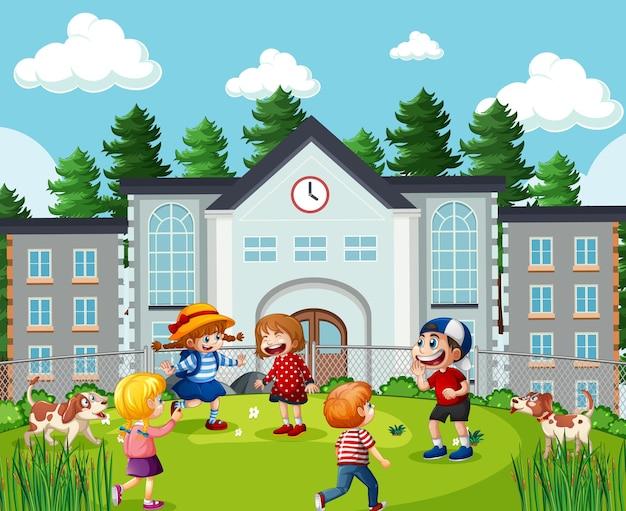 学校のシーンの子供たち