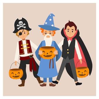 다양한 할로윈 의상을 입은 아이들이 즐길 수 있습니다. 속임수 또는 대우. 뱀파이어 드라큘라, 마법사 소년, 해적.
