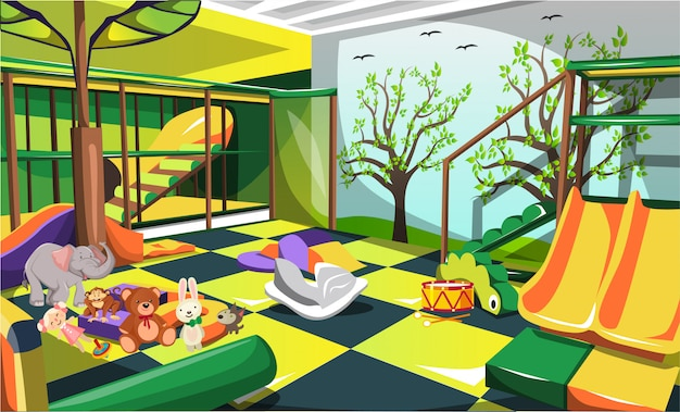 Children indoor playground fun for kids with animal dolls, slides and stairs