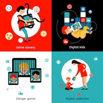 Children internet addiction flat icons