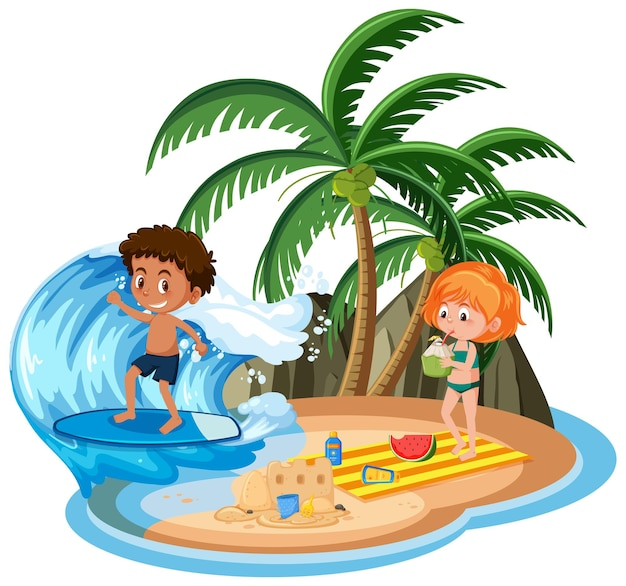 Children at the island isolated