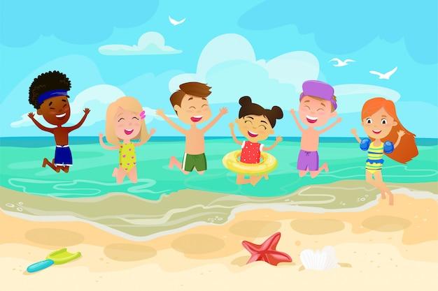 Children jumping on beach. happy cheerful kids. outdoor recreation. activity nature leisure. sea sand sun. child beach. happy friends. cute little cartoon boys and girls.