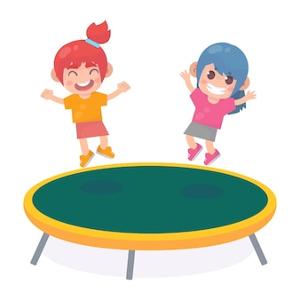 트램폴린에서 점프하는 아이들