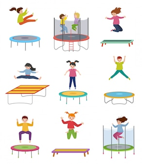 Children jumps on trampolines illustrations, active happy kids, child jumping, girl and boy playing isolated on white background