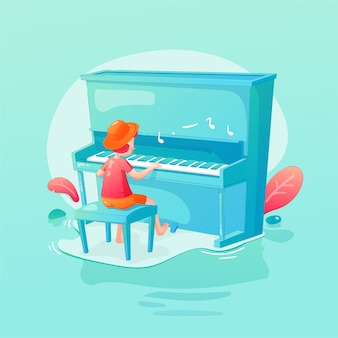 Children kid playing music piano in flat illustration